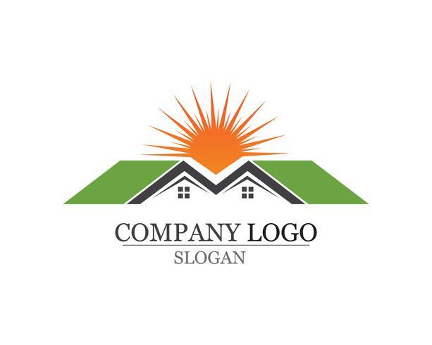 logotipo de edifícios de casa e natureza de modelo de ícones de símbolos