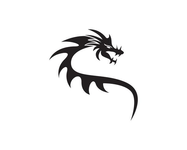 dragon flat color logo template vector illustration
