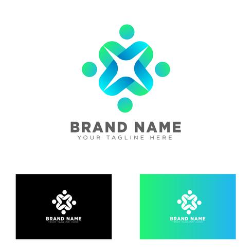 community group logo design template vector illustration