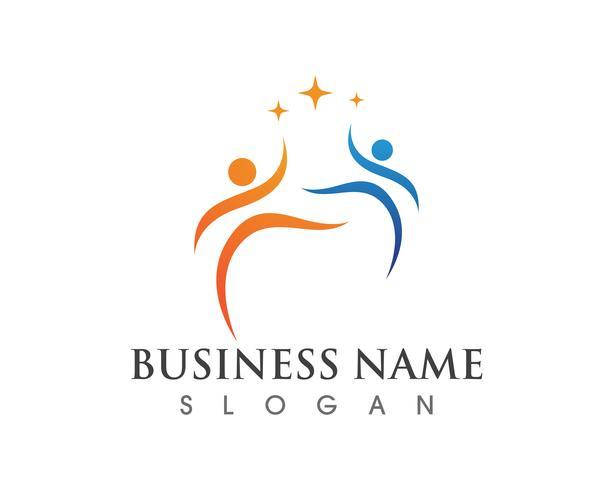 Plantilla de logotipo y símbolos de amor de cuidado familiar