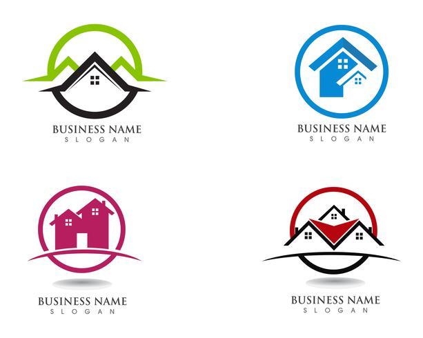 Vector de plantilla de iconos y símbolos de edificios de casa