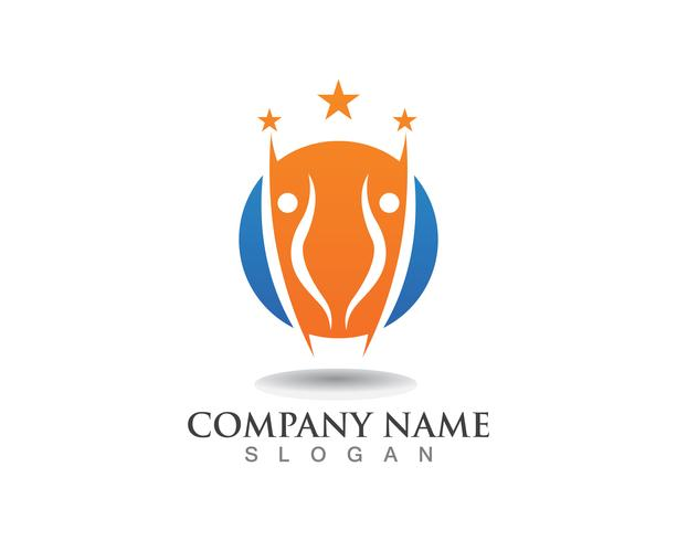 Progettazione dell'illustrazione dell'icona di vettore del modello della gente di successo di logo della stella