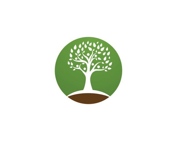Plantilla de logotipo de vector de identidad de personas de árbol verde