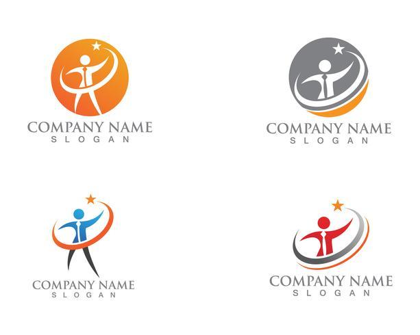 Aplicación de plantillas de logotipo y símbolos para el cuidado de personas vector