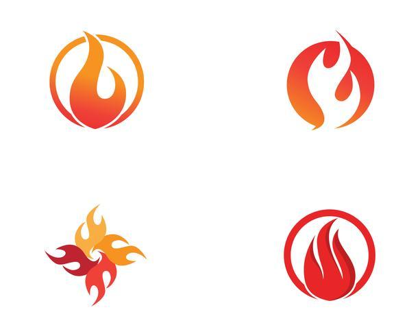 Aplicación de iconos de logotipo y símbolos de fuego. vector