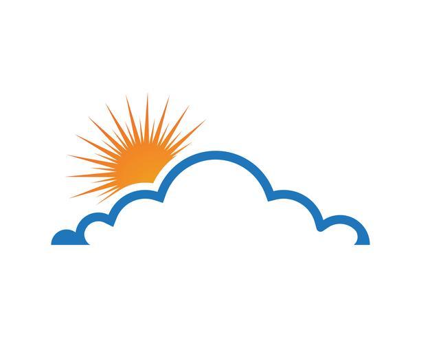 Icônes logo et symboles de données nuages et soleil vecteur