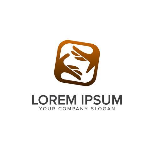 modelo de conceito de design de logotipo de pessoas de cuidados de mão