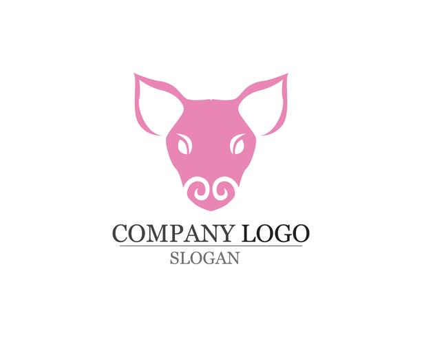 Pig Head Logo design vector template. Pork BBQ Grill Restaurant Logotype negative space style icon