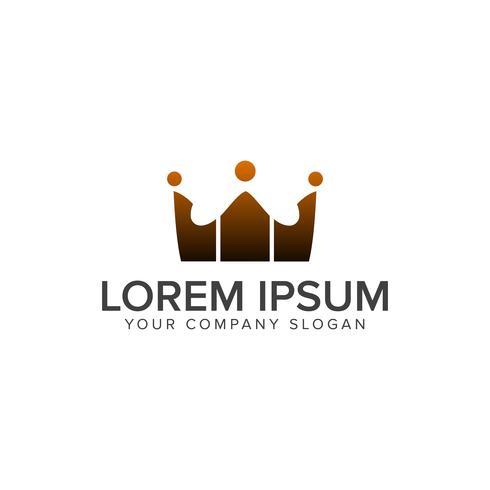 grupo de comunicacion personas logotipos. concepto de diseño de logotipo de la corona temp vector