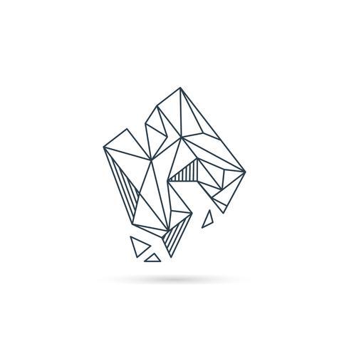 piedra preciosa letra h logo diseño icono plantilla vector elemento aislado