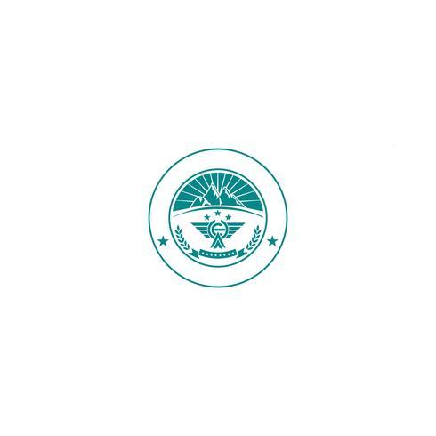 elemento dell'icona dell'illustrazione di vettore del modello di logo di paesaggio della montagna