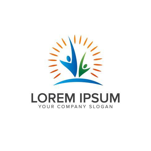 successful partners people Logos design concept template