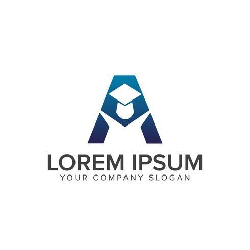 Modello di concetto di disegno di lettera A educazione Logo