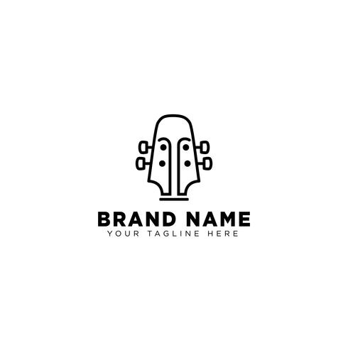 guitar linear logo design template vector icon illustration