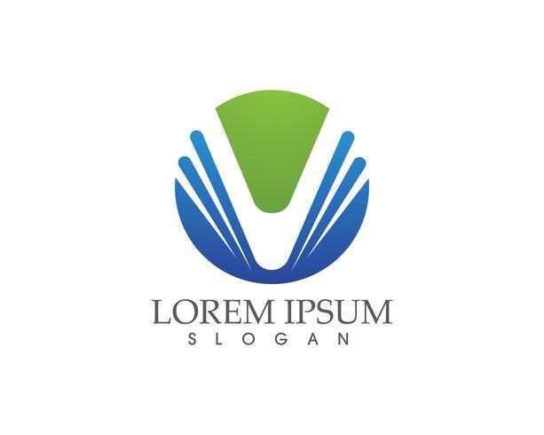V lettere logo aziendale e modello di simboli ..