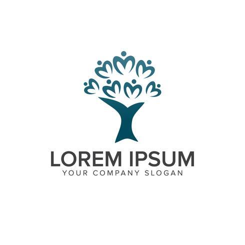 plantilla de concepto de diseño de logotipos de personas de árbol vector
