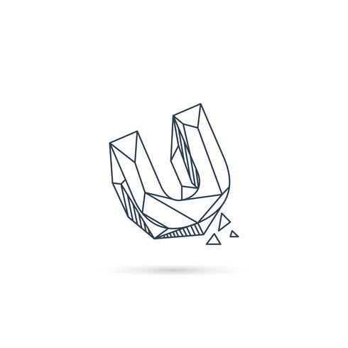 piedras preciosas letra u logotipo diseño icono plantilla vector elemento aislado