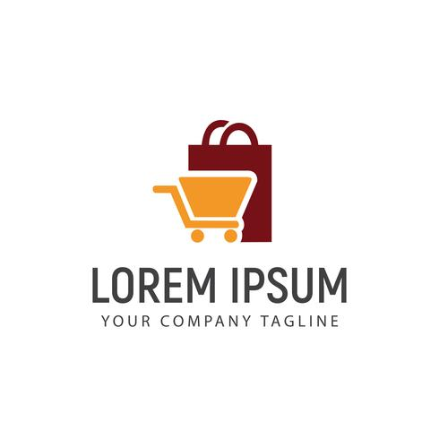 Shopping bag and carriage logo design concept template vector