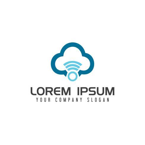Internet Cloud con plantilla de concepto de diseño de logo inalámbrico vector