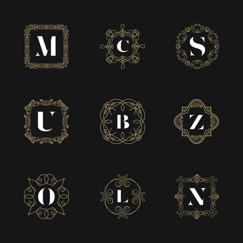 Monogram emblem insignia set. Calligraphic logo ornament vector