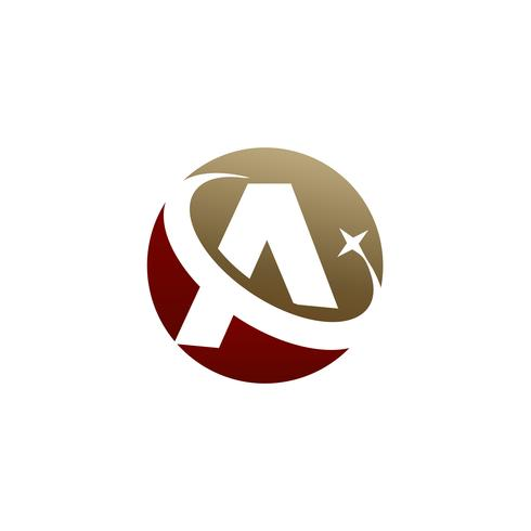 Letter A logo, Circle shape symbol, red and gold color, Technolo