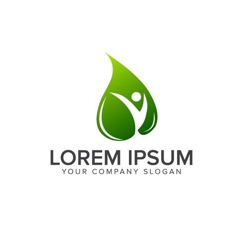 modello di concetto di progettazione di logo foglia verde persone