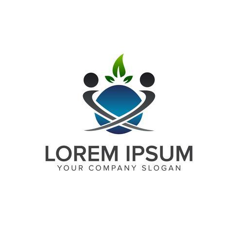 design de modelo de conceito de design de logotipo de pessoas de folha