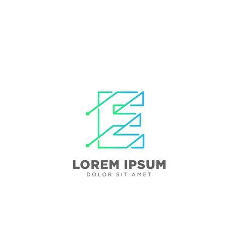 brev E logo design mall vektor illustration för företag varumärke