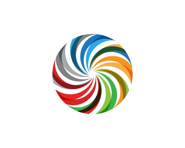Rainbow vortex circle logo and symbols template icons
