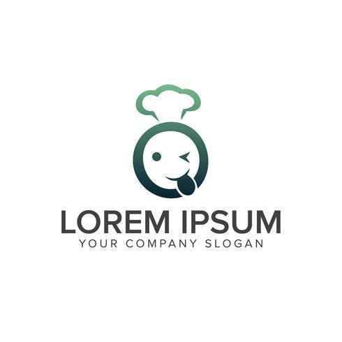 Smiley-Kopf-Logo. Restaurant-Logo-Design-Konzept-Vorlage