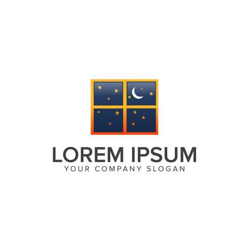 Modèle de concept de design logo nuit rêve fenêtre