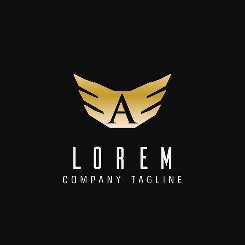 ali astratte di lusso con la lettera A logo. design tecnologico conc