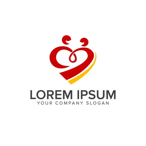 Liebesverbindungsleute Logos entwerfen Konzeptschablone