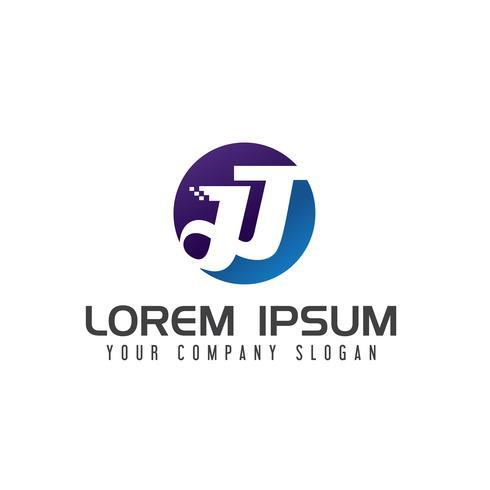 brev J teknologi logotyp design koncept mall vektor
