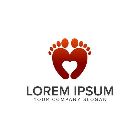 Leg love logo design concept template vector