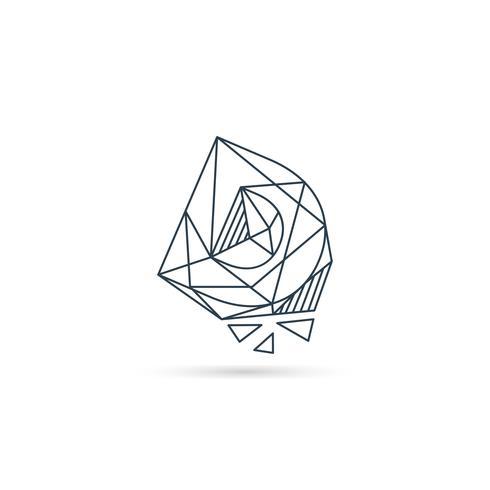 pierres précieuses lettre d logo design icône modèle vecteur élément isolé