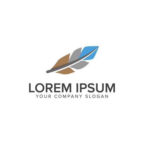 Plantilla de concepto de diseño de logotipo plano de pluma vector
