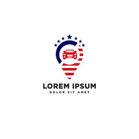 elemento de icono de ilustración de vector de plantilla de logotipo de navegador de viaje americano aislado