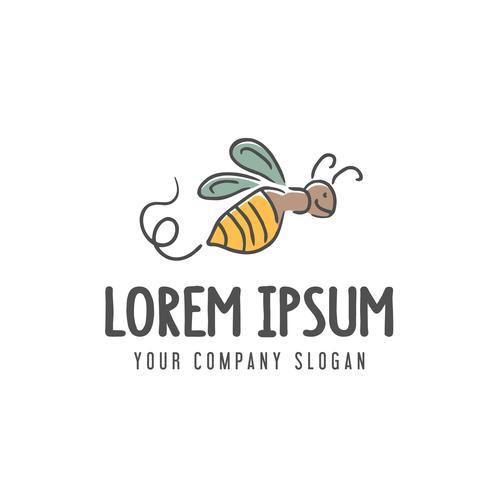 logotipo de la abeja plantilla de concepto de diseño dibujado a mano vector