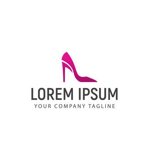 Plantilla de concepto de diseño de logotipo de zapatos de mujer vector