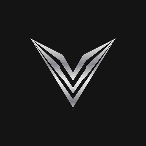 letter v logo. luxury metal logo design concept template
