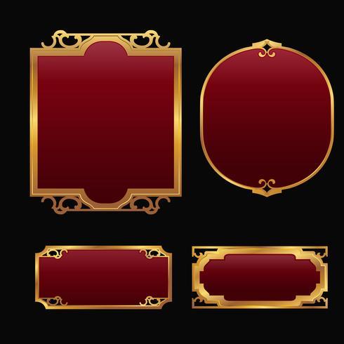 Étiquettes avec ensemble de collection de cadres décoratifs or rouge 3D