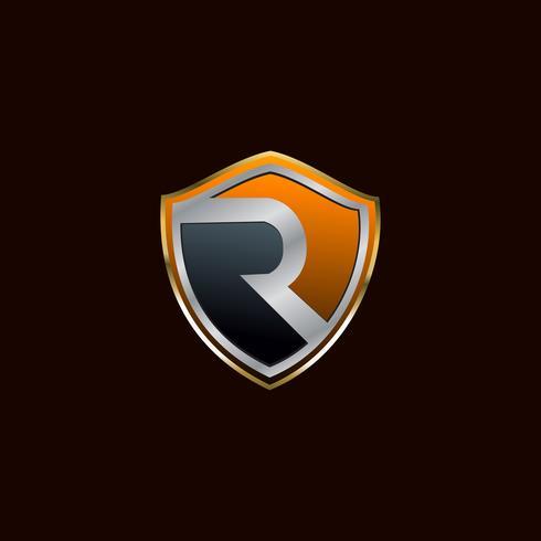 modello di concetto di disegno di marchio di sicurezza lettera R