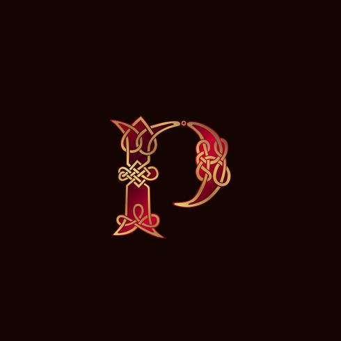 Plantilla de concepto de diseño de logotipo de decoración letra P de lujo vector