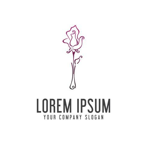 Modelo de conceito de design de logotipo de flores e vasos