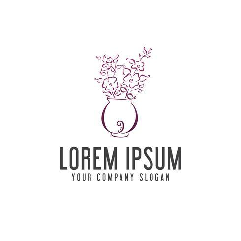 Blommor och vaser logo design koncept mall