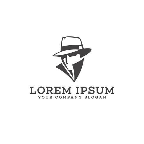 Plantilla de concepto de diseño de logotipo detective vaquero vector