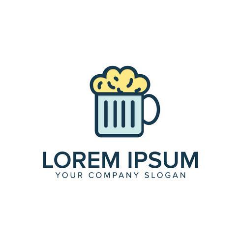 Modelo de conceito de design de logotipo plana de cerveja