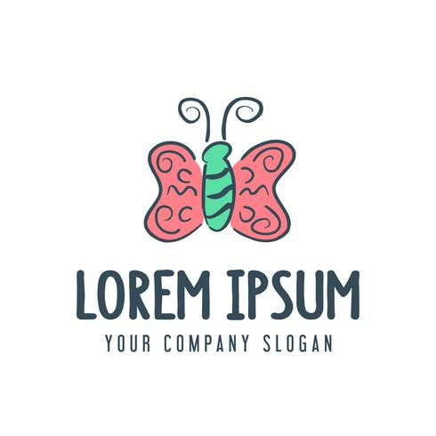 butterfly logo. handrawn style design concept template vector