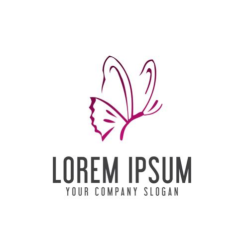 butterfly logo. handrawn style design concept template